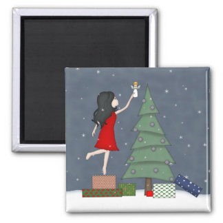 Whimsical Young Girl with Christmas Tree Angel 2 Inch Square Magnet