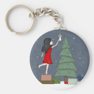 Whimsical Young Girl with Christmas Tree Angel Basic Round Button Keychain