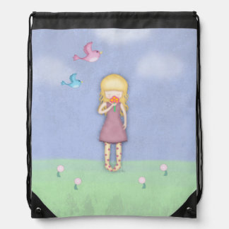 Whimsical Young Girl with Flowers Illustrated Drawstring Backpack