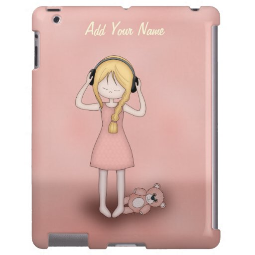 Whimsical Young Girl with Music Headphones