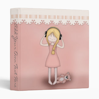 Whimsical Young Girl with Music Headphones Binder