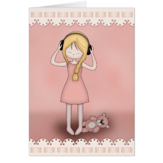 Whimsical Young Girl with Music Headphones Card