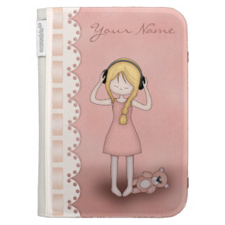Whimsical Young Girl with Music Headphones Kindle 3 Covers