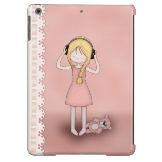 Whimsical Young Girl with Music Headphones Case For iPad Air