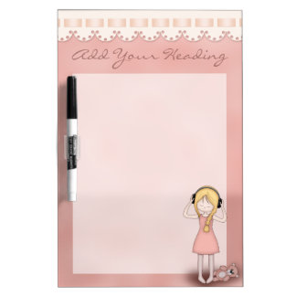 Whimsical Young Girl with Music Headphones Dry Erase Board