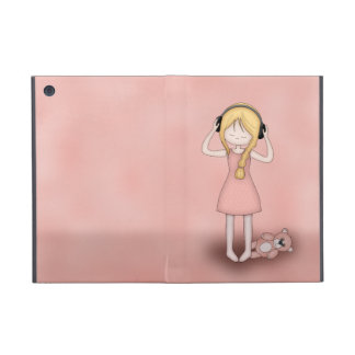 Whimsical Young Girl with Music Headphones iPad Mini Cover