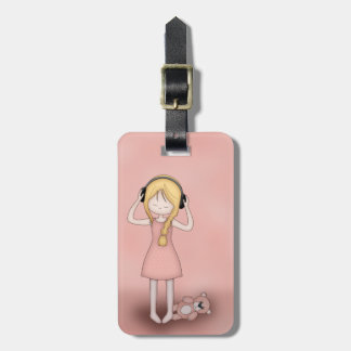 Whimsical Young Girl with Music Headphones Luggage Tag