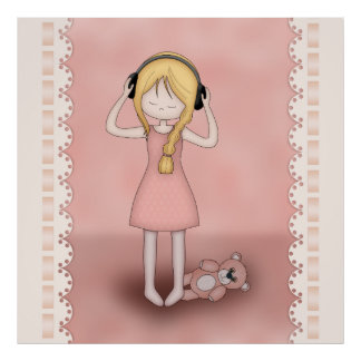 Whimsical Young Girl with Music Headphones Poster