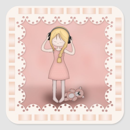 Whimsical Young Girl with Music Headphones Square Sticker