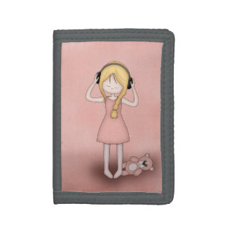 Whimsical Young Girl with Music Headphones Trifold Wallets
