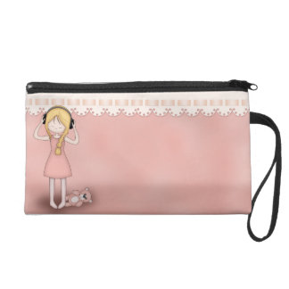 Whimsical Young Girl with Music Headphones Wristlet