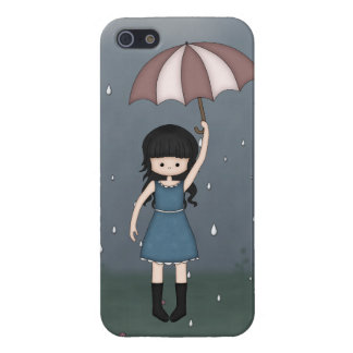 Whimsical Young Girl with Umbrella in the Rain Cover For iPhone SE/5/5s