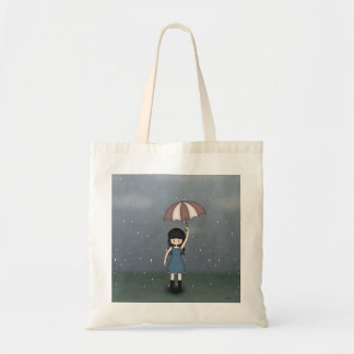 Whimsical Young Girl with Umbrella in the Rain Tote Bag