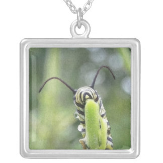 Whimsical Young Monarch Butterfly Caterpillar Square Pendant Necklace