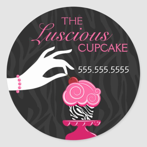 Whimsical Zebra and Cherry Cupcake Bakery Stickers
