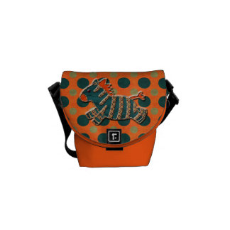 Whimsical Zebra & Polka Dots Messenger Bag