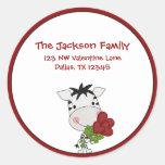 Whimsical Zebra Valentine's Day Address Labels Classic Round Sticker