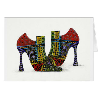 Whimsical Zentangled Shoes Greeting Card