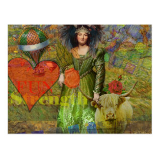 Whimsical Zodiac Taurus Fun Surreal Collage Woman Postcard