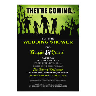 Whimsical Zombie Wedding Shower Invitations