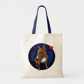 Whimsically Cute English Bull Terrier Illustration Canvas Bags