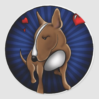 Whimsically Cute English Bull Terrier Illustration Classic Round Sticker