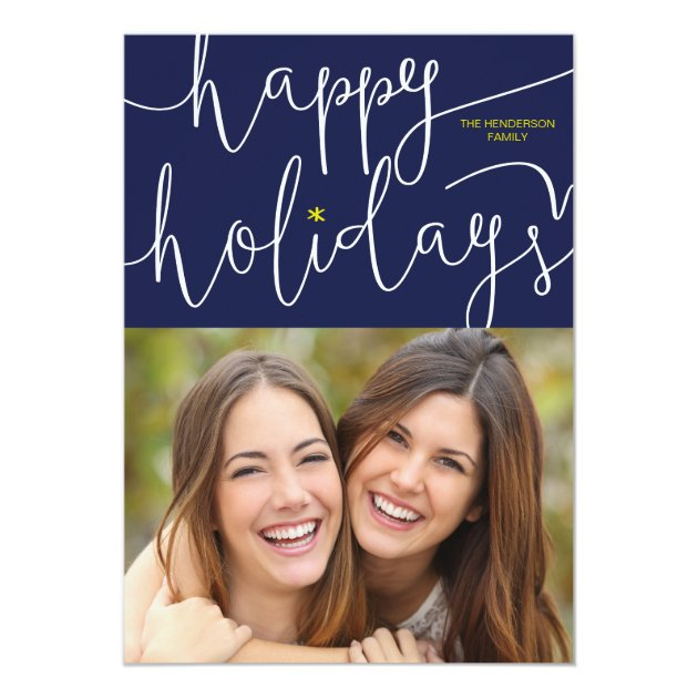Whimsically Scripted Happy Holidays Photo Card