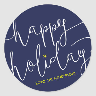 Whimsically Scripted Happy Holidays Sticker
