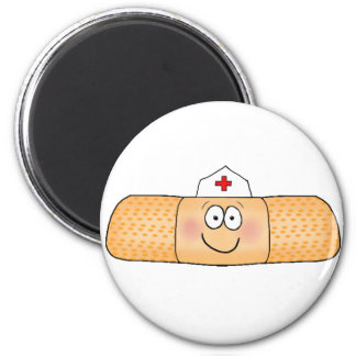 Whimsicla Band Aid Bandage with Nurse Hat Cute 2 Inch Round Magnet