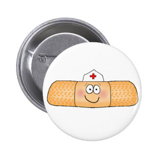 Whimsicla Band Aid Bandage with Nurse Hat Cute Pinback Button