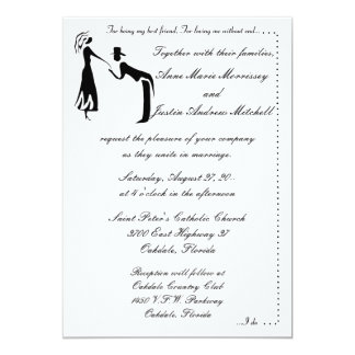 "Whimsicle Couple SILHOUETTE Wedding Invitations 5"" X 7"" Invitation Card"