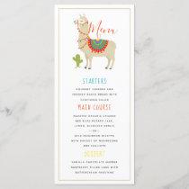 Whimsy Animal Llama Birthday Party Menu
