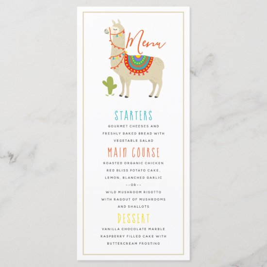 Whimsy Animal Llama Birthday Party Menu