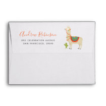 Whimsy Animal Llama Birthday Party Pre-addressed Envelope