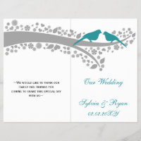 whimsy aqua lovebirds  folded Wedding program