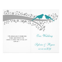 whimsy aqua lovebirds  folded Wedding program