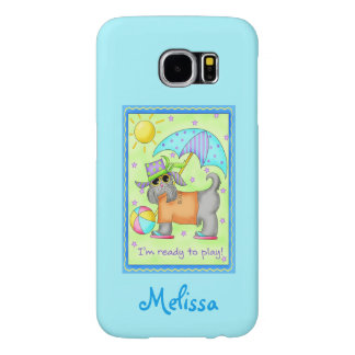 Whimsy Beach Dog Ready to Play Turquoise Name Samsung Galaxy S6 Case