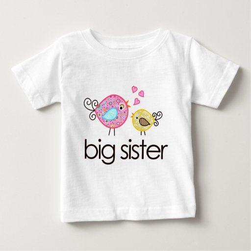 Whimsy birds big sister t shirt announcement zazzle for Big sister birth announcement shirts