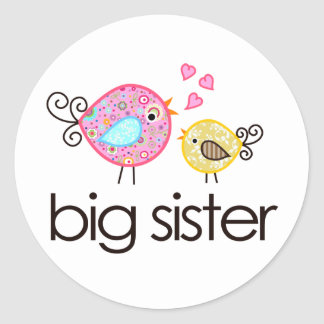 Whimsy Birds Big Sister T-shirt Announcement Classic Round Sticker