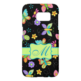 Whimsy Butterflies Black Monogram Personalized Samsung Galaxy S7 Case