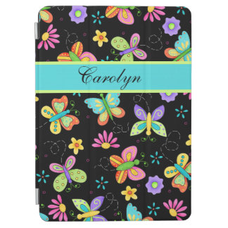 Whimsy Butterflies Black Name Personalized iPad Air Cover