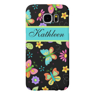 Whimsy Butterflies Black Name Personalized Samsung Galaxy S6 Case