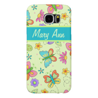 Whimsy Butterflies Green Name Personalized Samsung Galaxy S6 Case