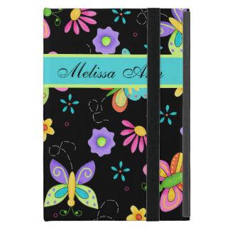 Whimsy Butterflies on Black Custom Name iPad Mini Cases