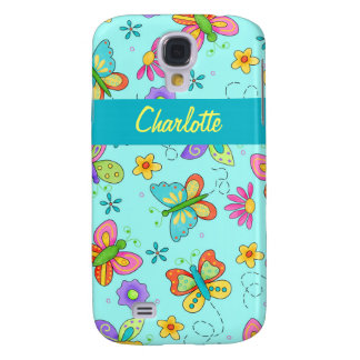 Whimsy Butterflies Turquoise Blue Name Personal Samsung S4 Case