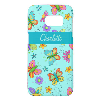 Whimsy Butterfly Turquoise Blue Name Personalized Samsung Galaxy S7 Case