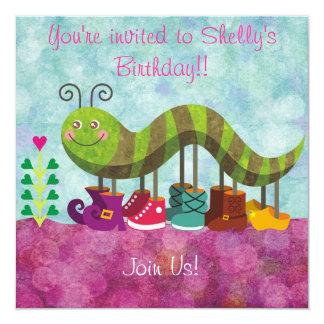 """Whimsy Caterpillar Kids Invitation 5.25"""" Square Invitation Card"""