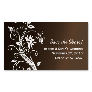 Whimsy Chocolate Brown Save the Date Business Card Magnet