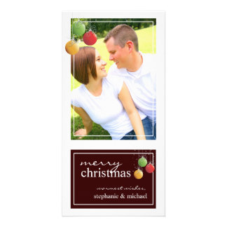 Whimsy Christmas Ornaments Brown Photo Card