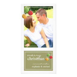 Whimsy Christmas Ornaments Green Photo Card